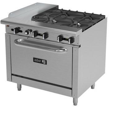 Estufa 4 fuegos plancha y horno asber