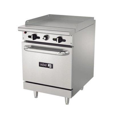 Estufa con horno y plancha linea restaurante asber