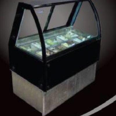 Vitrina cristal curvo expositora de gelatto masser