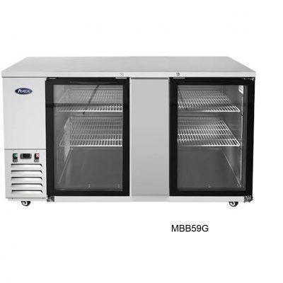 Mesa refrigerada contra barra puerta cristal atosa